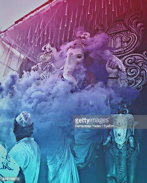 statue of ganesha during festival - ganesh chaturthi stock photos and pictures