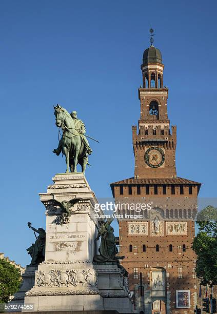 Statue of Garibaldi and the Sforza Castle in Milan