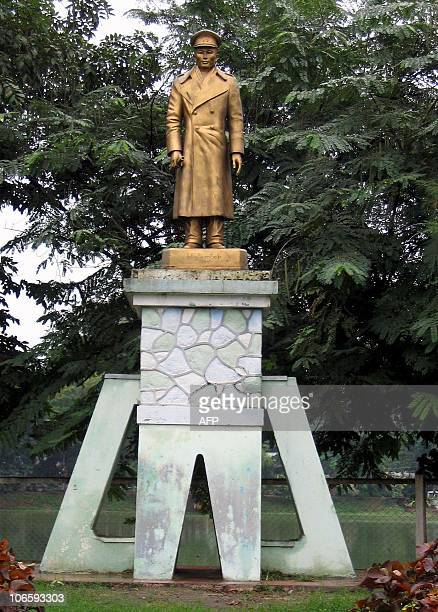 WITH MYANMARMILITARYCAPITAL A statue of General Aung San father of Myanmar's detained prodemocracy leader Aung San Suu Kyi stands beside the lake...