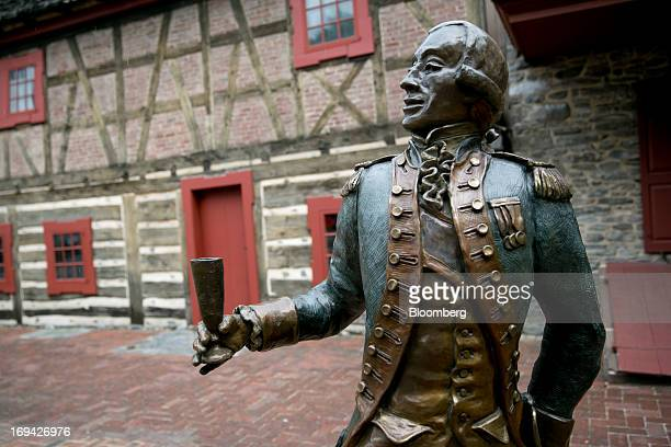 A statue of General Marquis de Lafayette stands outside the Golden Plough Tavern in York Pennsylvania US on Thursday May 23 2013 BAE Systems Plc...
