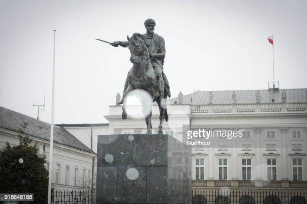 A statue of general Polish leader and minister Jozef Poniatowski is seen in front of the Presidential Palace in Warsaw Poland on February 14 2018