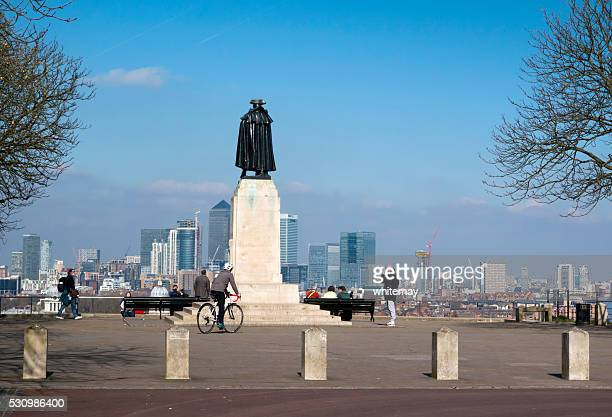 Statue of General Wolfe at Greenwich, with Canary Wharf