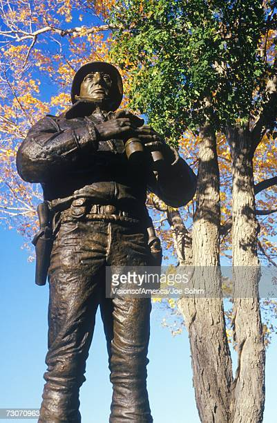 """""""statue of george patton, us military academy, west point, ny in autumn"""" - george patton stock pictures, royalty-free photos & images"""