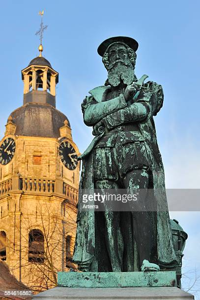 Statue of Gerardus Mercator Flemish cartographer remembered for the Mercator projection world map which is named after him in front of the Church of...