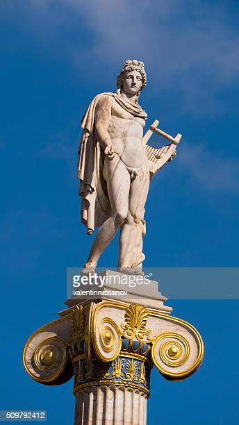 statue of god apollo in athens, greece-close up - lyre stock photos and pictures