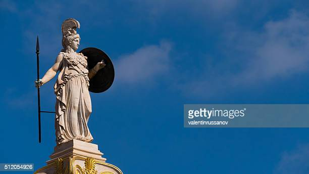 Statue of Goddess Athena in  Athens, Greece - copy space