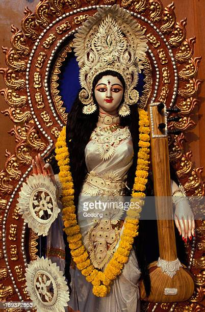 Statue of goddess Saraswati during Sarasvati puja in Calcutta