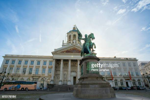 Statue of Godfrey of Bouillon on Place Royale, Saint-Jacques-sur-Coudenberg Church in backdrop - Brussels, Belgium