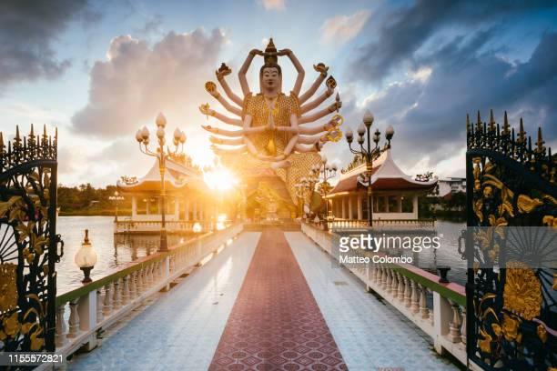 statue of guanyin, wat plai laem, ko samui, thailand - buddhist goddess stock pictures, royalty-free photos & images