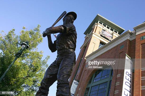 Statue of Hall of Famer Hank Arron is seen outside of Miller Park prior to the Milwaukee Brewers playing against the Philadelphia Phillies in Game...
