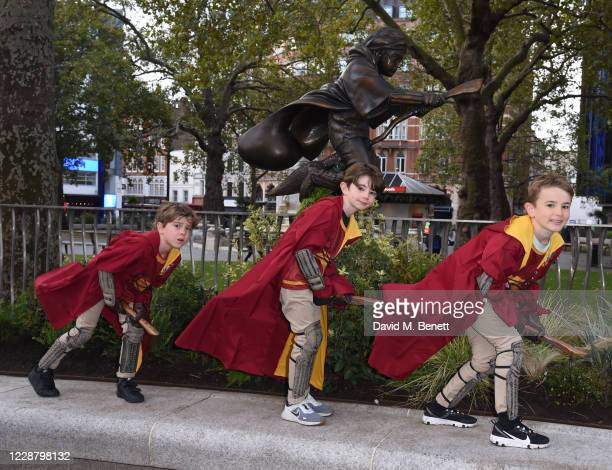 Statue of Harry Potter is unveiled in Leicester Square as part of the 'Scenes in the Square' film trail on September 30, 2020 in London, England.
