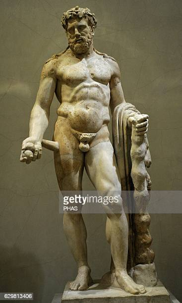 Statue of Heracles Greek hero son of Zeus with club and lion skin Marble Roman work 2nd c AD After the Greek original of midfourth c BC The State...