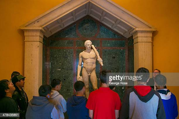 A statue of Hercules is just of many antiquities on display at the J Paul Getty Villa Museum on March 3 in Malibu California Perched on a hillside...