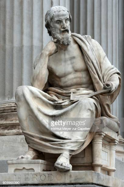 statue of herodotus, 19th century, in front of parliament, vienna, austria - herodotus stock pictures, royalty-free photos & images
