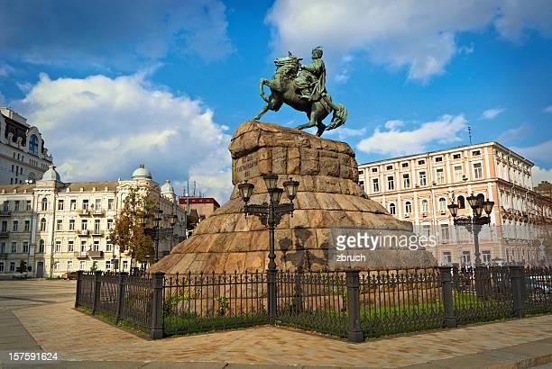 statue of hetman bohdan khmelnytsky - kiev stock pictures, royalty-free photos & images