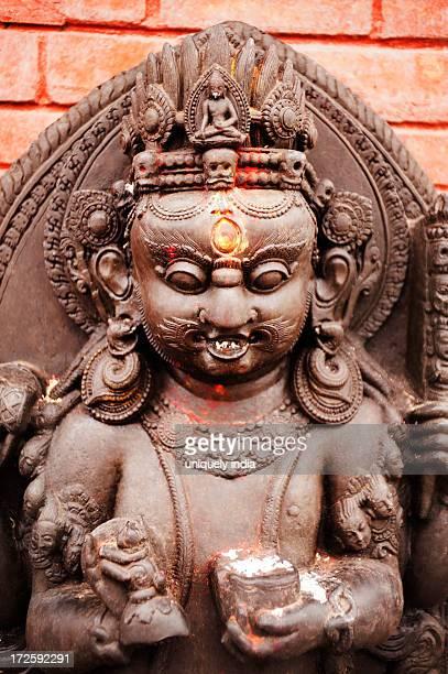 Statue of Hindu God in a temple, Swayambhunath, Kathmandu, Nepal