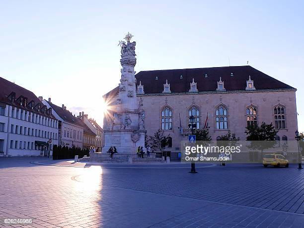 statue of holy trinity and grounds of buda castle - omar shamsuddin stock pictures, royalty-free photos & images