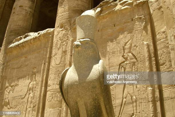 statue of horus in edfu temple - argenberg stock pictures, royalty-free photos & images