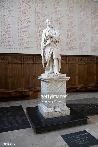 Statue of Isaac Newton Trinity College chapel University of Cambridge England