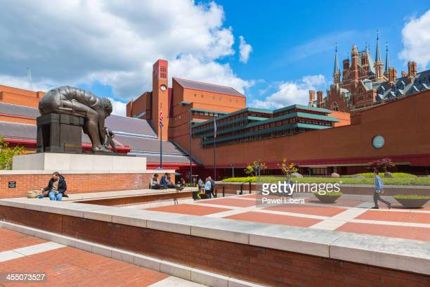 Statue of Issac Newton in the forecourt of the British Library