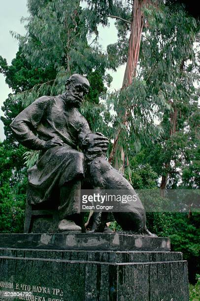 statue of ivan pavlov and his dog - laureate stock pictures, royalty-free photos & images