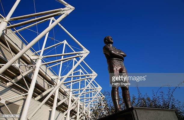 A statue of Ivor Allchurch is seen prior to the Barclays Premier League match between Swansea City and Crystal Palace at Liberty Stadium on November...