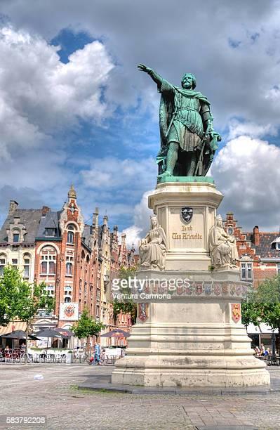 Statue of Jacob van Artevelde on the 'Vrijdagsmarkt' Square in Ghent, Belgium