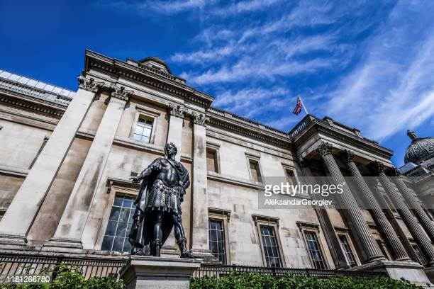 statue of jacobvs secvndvs - trafalgar square, london, uk - central london stock pictures, royalty-free photos & images