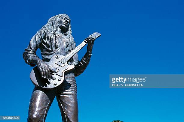 Statue of Jamaican reggae singer and musician Bob Marley Kingston Jamaica