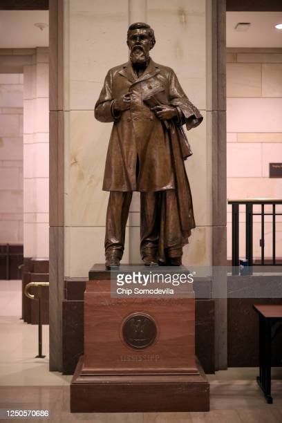 Statue of James Zachariah George, a colonel in the Confederate Army and U.S. Senator from Mississippi, stands inside the U.S. Capitol Visitors Center...