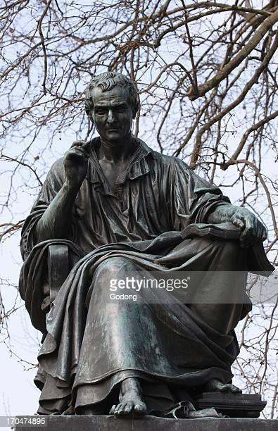 Statue of JeanJacques Rousseau on Rousseau island Geneva Switzerland
