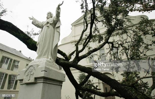A statue of Jesus remains standing next to downed trees in the courtyard of the historic Saint Louis Cathedral in the French Quarter in the aftermath...
