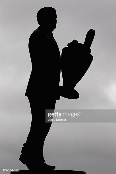 A statue of Jock Stein stands outside Celtic Park on September 13 2011 in Glasgow Scotland Celtic will now face Atletico Madrid in the group stages...