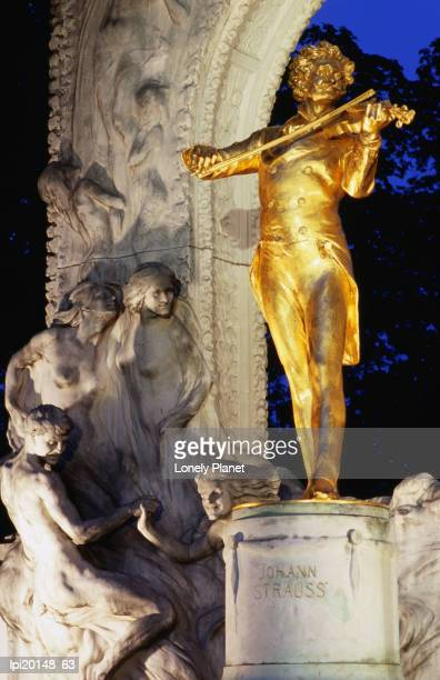 statue of johann strauss at night, innere stadt, vienna, austria - stadt stock pictures, royalty-free photos & images