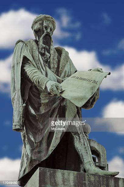 Statue of Johannes Gutenberg inventor of the movable printing press Strasbourg Alsace France
