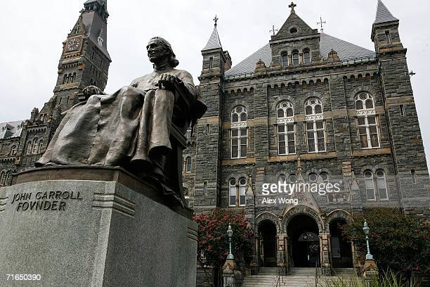 Statue of John Carroll, founder of Georgetown University, sits before Healy Hall on the school's campus August 15, 2006 in Washington, DC. Georgetown...