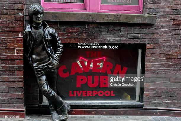 Statue of John Lennon outside the Cavern Club on Matthew Street in Liverpool on January 30 UK