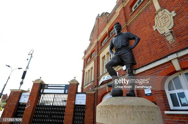 A statue of Jonny Hayes outside of Craven Cottage home of Fulham FC is seen as football in England remains suspended due to Covid19 on March 21 2020...