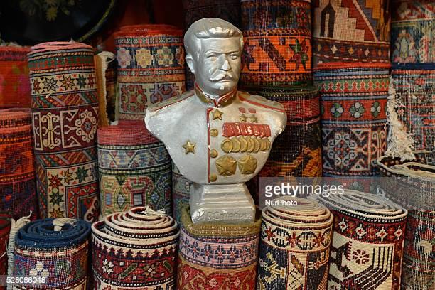 Statue of Josef Stalin seen in Xalca Dukani carpet shop, in Baku Old Town. On Tuesday, 3 May 2016, in Baku, Azerbeijan.