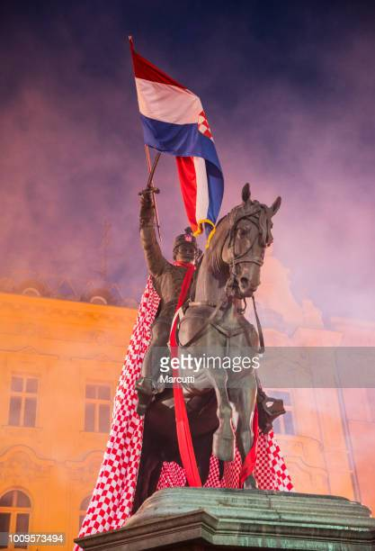 Statue of Josip Ban Jelacic on the horse with Croatian flag
