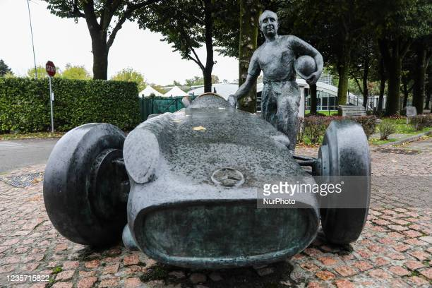 Statue of Juan Manuel Fangio, five-time Formula 1 World Champion, at the circuit in Monza, Italy on October 5, 2021.