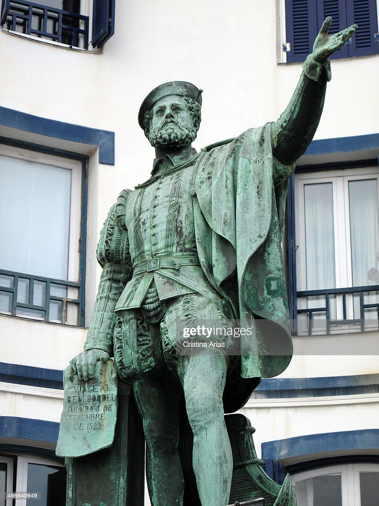 Statue Of Juan Sebastian Elcano In Getaria : News Photo