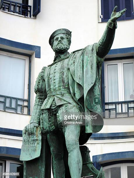 Statue of Juan Sebastian Elcano in Getaria Elcano was a sailor and explorer born in this town who led marine expedition for the first time managed to...