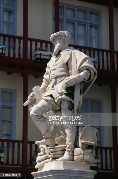 Statue of Juan Sebastian Elcano Spanish navigator Gaetaria Basque Country Spain