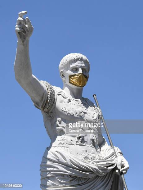 A statue of Julius Caesar wearing a mask at Caesars Palace on June 4 2020 in Las Vegas Nevada Hotelcasinos throughout the state are opening today as...