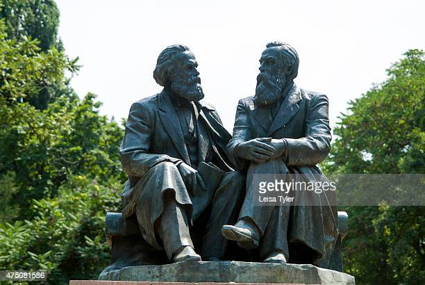 A statue of Karl Marx and Friedrich Engels in Bishkek's Oak Park