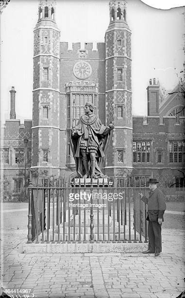 Statue of King Henry VI Eton College Berkshire c1860c1922 with Lupton's Tower in the background King Henry VI founded the college in 1440