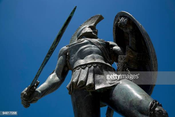 A statue of King Leonidas stands in Sparta Greece Wednesday May 2 2007 Greek merchants from Athens to Thermopylae are concerned about a scarcity of...