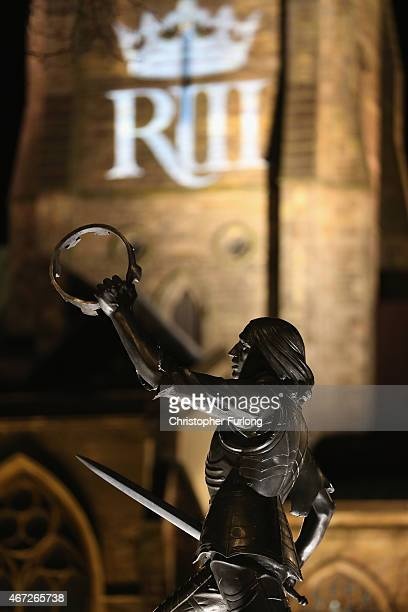A statue of King Richard III is illumninated outside Leicester Cathedral as the coffin containing his remains sits in repose inside on March 22 2015...