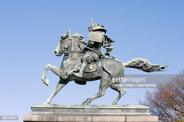 statue of kusunoki masashige a samurai warrior, imperial palace, tokyo, japan, asia - imperial palace tokyo stock pictures, royalty-free photos & images